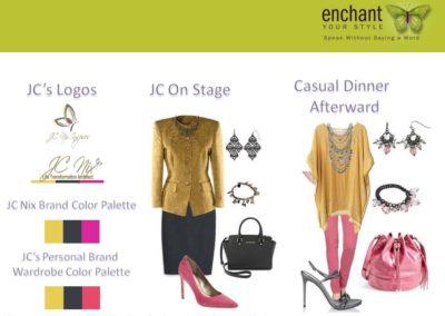 JC Nix Color Palettes, Logos, & Wardrobe Inspirations